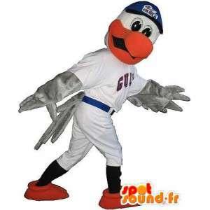 Eagle mascot dressed in baseball, American sports costume