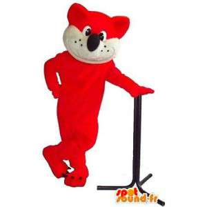Mascot wat neerkomt op een oranje kat, kat kostuum pluche
