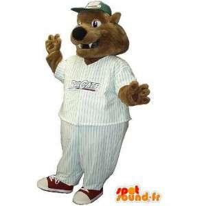 Baseball supporter hundmaskot, amerikansk idrottsförklädnad -