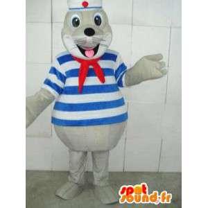 Mascota Seal Marina con cinta roja y azul marino túnica a rayas