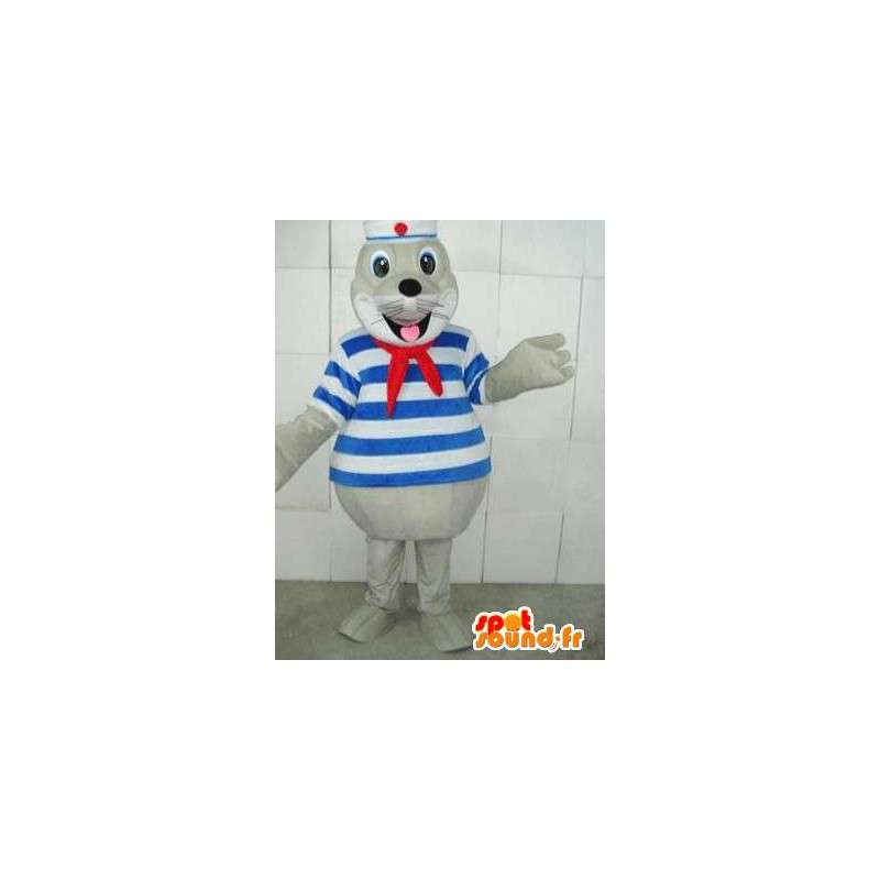 Marine mascot seal with red ribbon and navy striped tunic - MASFR00233 - Mascots seal
