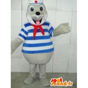 Mascotte sigillo marino con nastro rosso e tunica blu scuro a righe - MASFR00233 - Sigillo di mascotte
