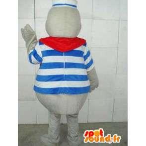 Mascota Seal Marina con cinta roja y azul marino túnica a rayas - MASFR00233 - Sello de mascotas
