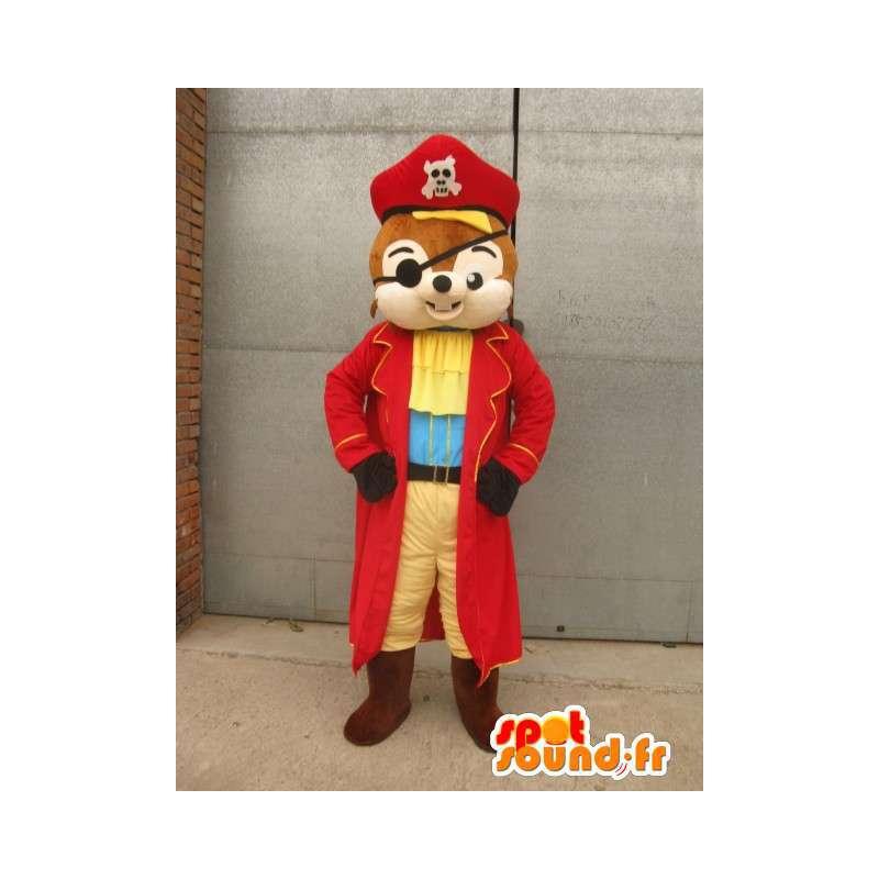 Eichhörnchen-Maskottchen-Pirat - Tierkostüm für Verkleidung - MASFR00165 - Maskottchen Eichhörnchen