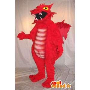 Mascota del dragón rojo, traje animal fantástico