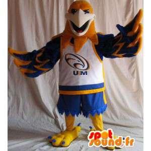 Mascotte d'aigle en tenue de basket, déguisement de basketteur