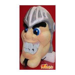 Mascot wat neerkomt op een man het hoofd in de Romeinse helm