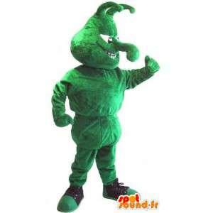 Mascotte représentant un insecte vert en chaussure de sport