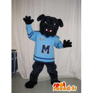 Mascotte chien bouledogue noir sportif, déguisement sport