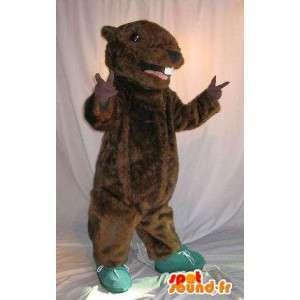 Mascot wat neerkomt op een bruin knaagdier, muis vermomming