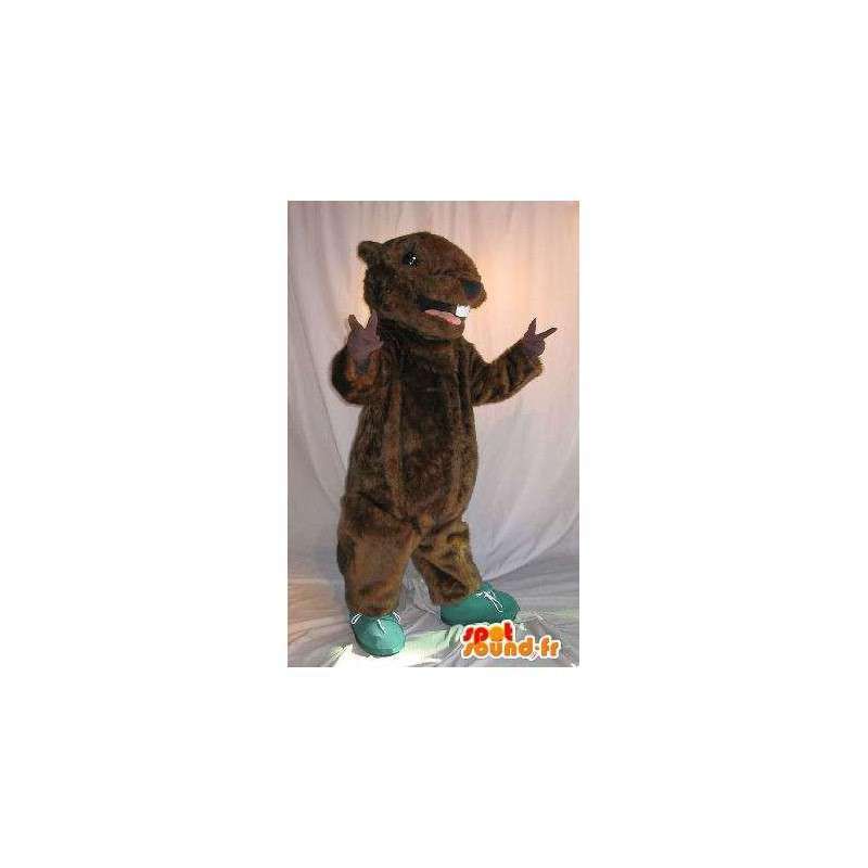 Mascotte représentant un rongeur marron, déguisement de souris - MASFR001968 - Mascotte de souris