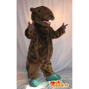 Mascot wat neerkomt op een bruin knaagdier, muis vermomming - MASFR001968 - Mouse Mascot