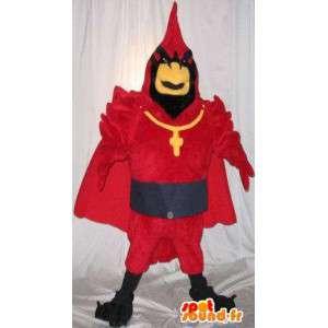 Mascotte de coq en tenue de cardinal, déguisement chrétien