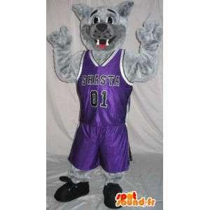 Mascotte del cane vestito di basket, sotto mentite spoglie di basket - MASFR001971 - Mascotte cane