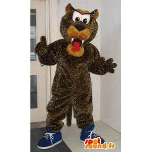 Representando un traje de peluche mascota del perro del leopardo