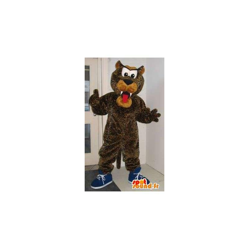 Maskotti edustaa leopardi koira, muhkeat puku - MASFR001972 - koira Maskotteja