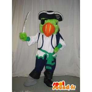 Mascotte de perroquet pirate, déguisement capitaine de pirates