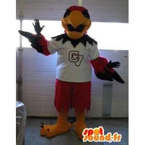Mascot wat neerkomt op een rode adelaar, vogel sportieve kostuum