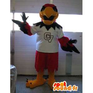 Representing an eagle mascot red bird costume sports