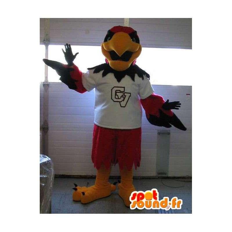Mascotte représentant un aigle rouge, déguisement oiseau sportif - MASFR001975 - Mascotte d'oiseaux