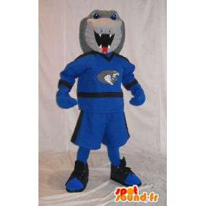Cobra mascot in sports clothes, costume snake