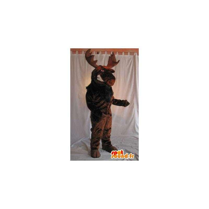 Mascot wat neerkomt op een bruine momentum, Noel vermomming - MASFR001981 - Kerstmis Mascottes