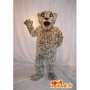 Mascot van een schattig klein cheetah kostuum kind