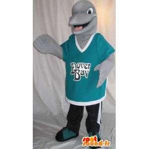 Mascotte représentant un petit dauphin gris, déguisement aquatique