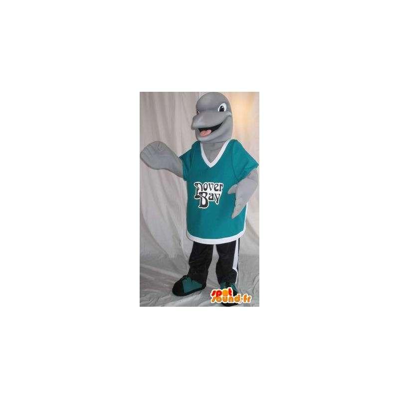 Mascotte représentant un petit dauphin gris, déguisement aquatique - MASFR001986 - Mascottes Dauphin