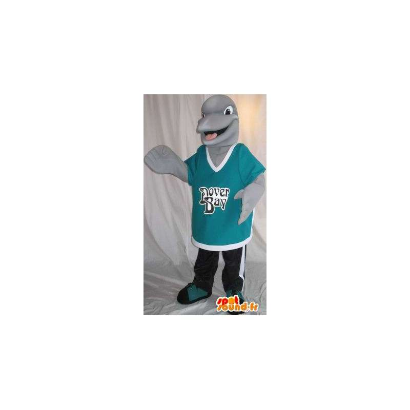 Representing a small mascot dolphin gray disguise aquatic - MASFR001986 - Mascot Dolphin