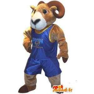 Mascot die einen Widder-Ringer-Kostüm Schlacht