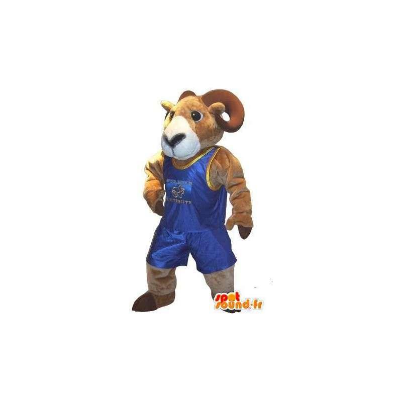 Mascotte représentant un bélier lutteur, déguisement de combat - MASFR001987 - Mascotte de Taureau