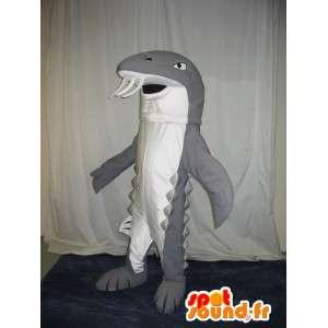 Mascot wat neerkomt op een grijze haai, zee tanden vermomming