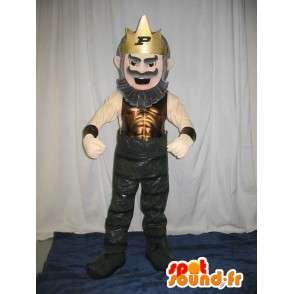 Mascot wat neerkomt op een man gekroond tot koning van vermomming - MASFR001993 - man Mascottes