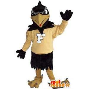 Mascot toont een ondersteunende raaf, vogel verhullen