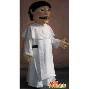 Maskot af en munk i hvid tunika, religiøs forklædning -