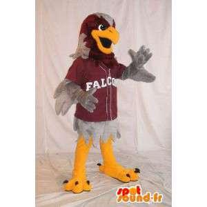 Mascot que representa un águila deportes grises, disfraz atlético