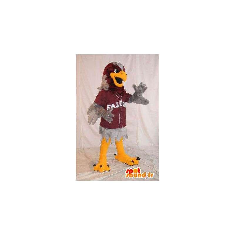 Mascot que representa un águila deportes grises, disfraz atlético - MASFR001997 - Mascota de aves