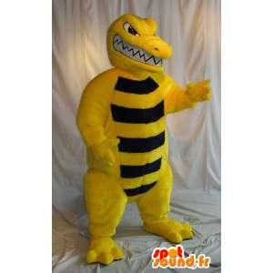 黄色と黒のワニのマスコット、爬虫類の変装-MASFR001998-クロコダイルのマスコット