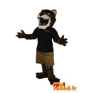 Mascot van een tijger in koele outfit, katachtige vermomming