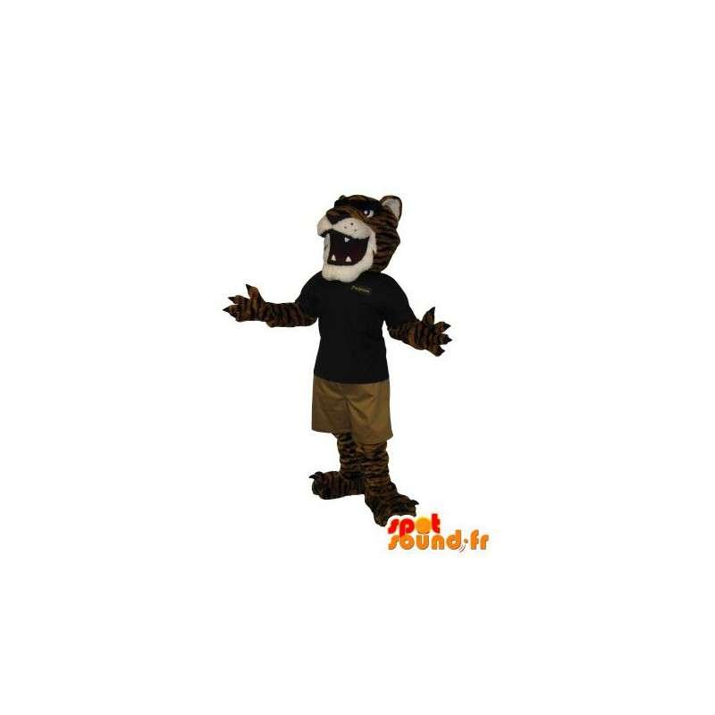 Maskotti tiikeri viileässä porukka, kissan naamioida - MASFR002001 - Tiger Maskotteja