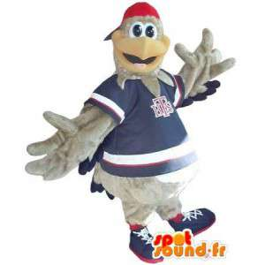 Mascot representando um cinza Coq Sportif adolescente disfarce