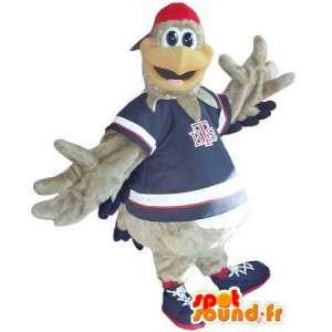 Mascotte représentant un coq sportif gris, déguisement adolescent