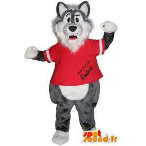 A wolf mascot sports disguise gym