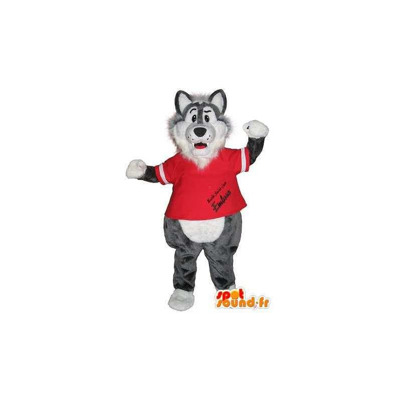 Maskotti urheilu susi kuntosali valepuvussa - MASFR002006 - Wolf Maskotteja