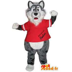 Un lupo mascotte sport palestra travestimento - MASFR002006 - Mascotte lupo