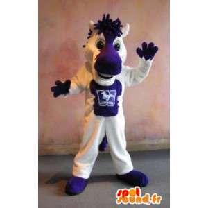 Mascot de un pequeño caballo blanco y morado traje caballo - MASFR002013 - Caballo de mascotas
