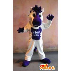 Mascot of a small white horse and purple costume horse