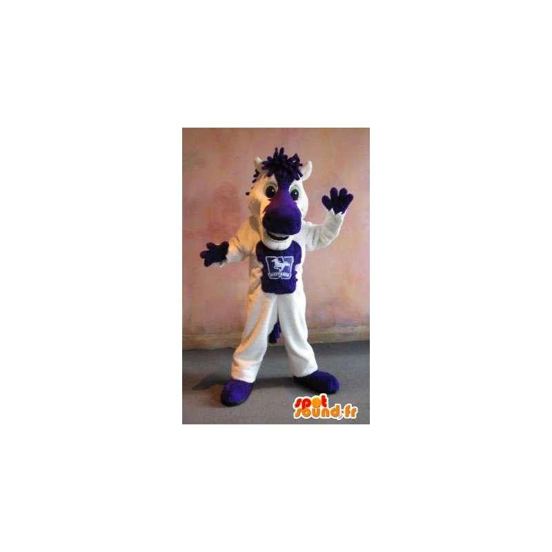 Mascot of a small white horse and purple costume horse - MASFR002013 - Mascots horse