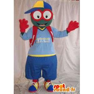 Mascot alegre disfraz colegial con gafas